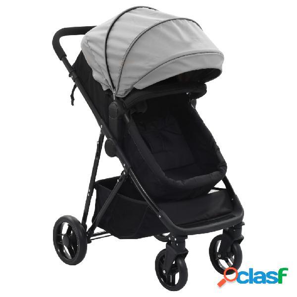 vidaXL Cochecito/Silla de bebé 2 en 1 acero gris y negro