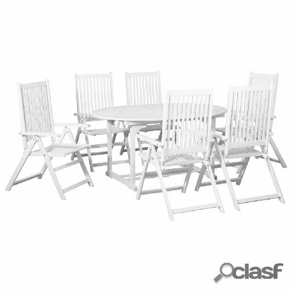 vidaXL Comedor de jardín 7 pzas de madera blanca con mesa