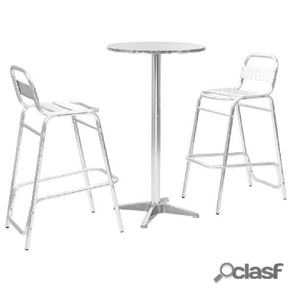 vidaXL Conjunto de bar 3 piezas con mesa redonda aluminio