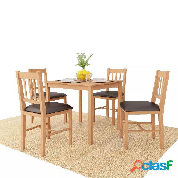 vidaXL Conjunto de comedor 5 piezas madera maciza de roble