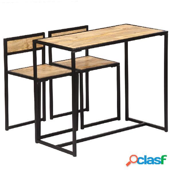 vidaXL Conjunto de comedor de 3 piezas madera maciza de