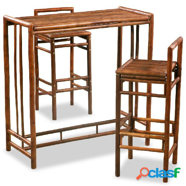 vidaXL Conjunto de comedor de bambú 3 piezas marrón