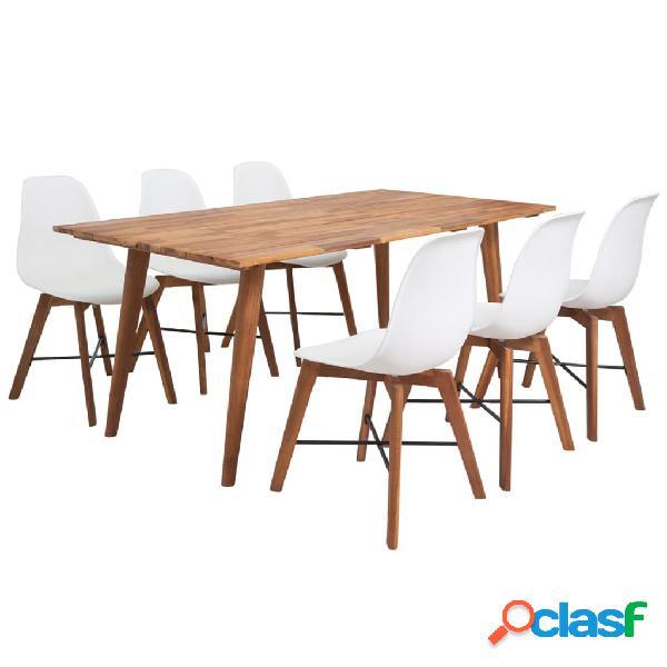 vidaXL Conjunto de comedor de madera de acacia 7 piezas