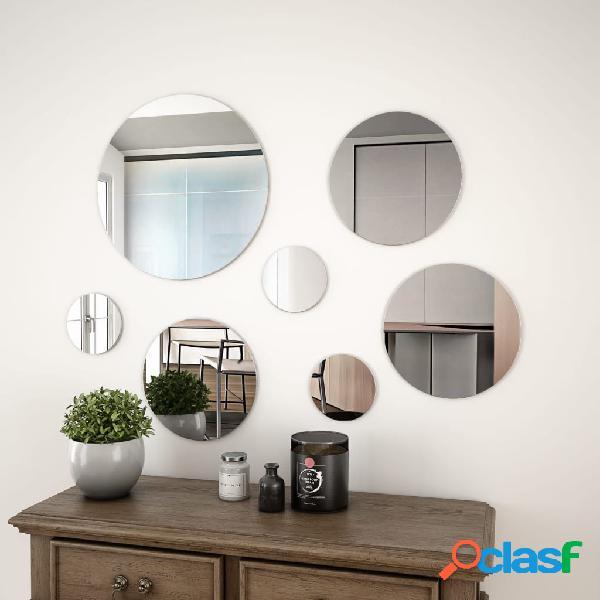 vidaXL Conjunto de espejo de pared redondo vidrio 7 piezas