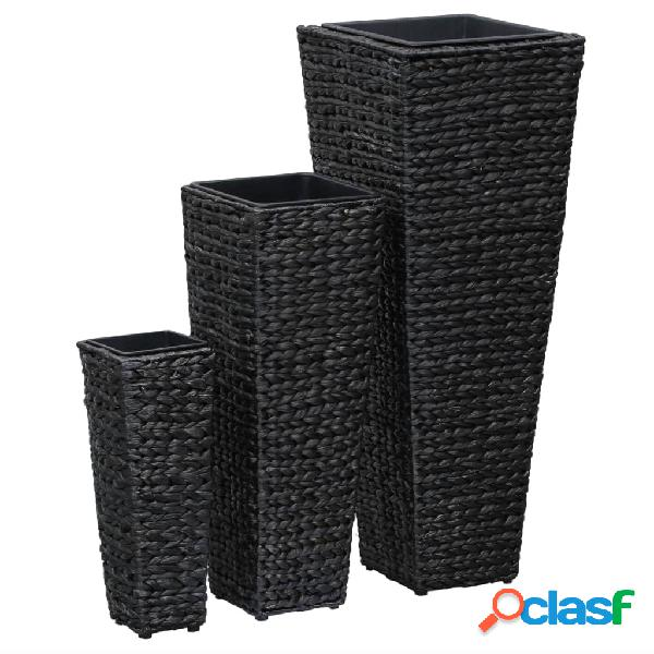 vidaXL Conjunto de jardineras 3 piezas jacinto de agua negro