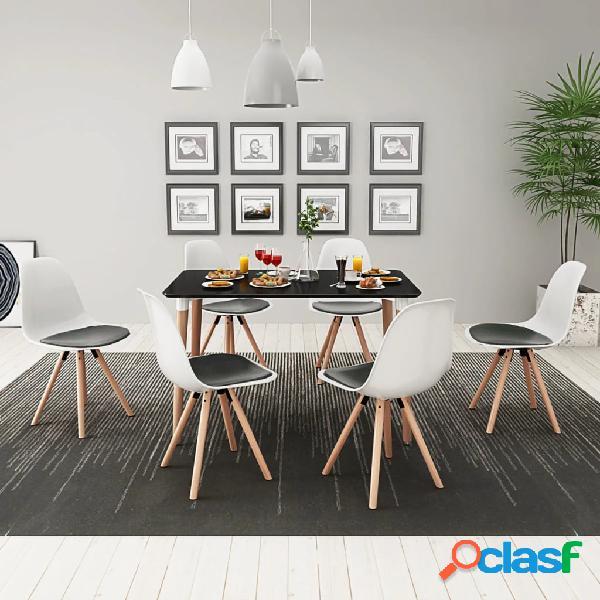 vidaXL Conjunto de mesa de comedor y sillas 7 piezas blanco