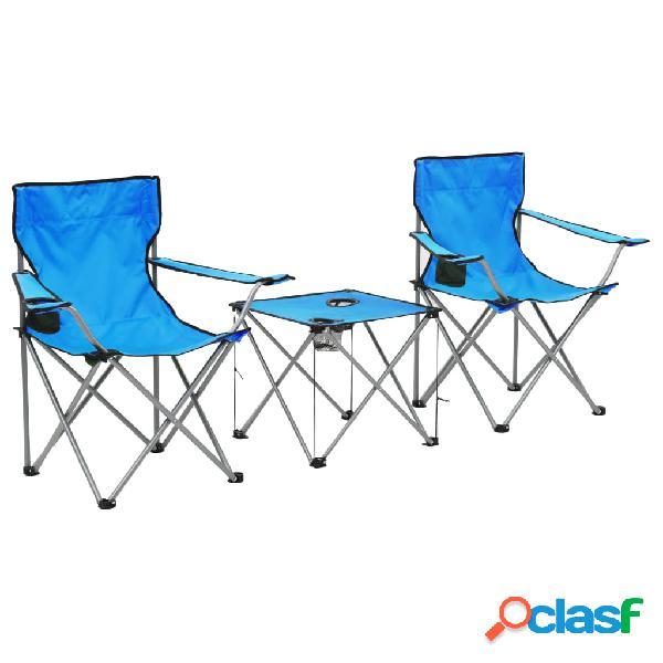 vidaXL Conjunto de mesa y sillas de camping 3 piezas azul