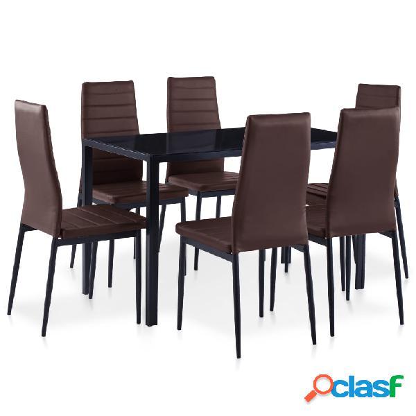 vidaXL Conjunto de mesa y sillas de comedor 7 piezas marrón