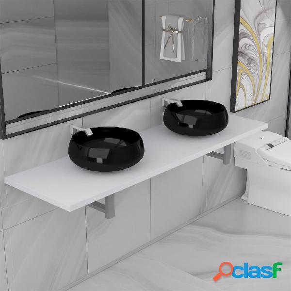 vidaXL Conjunto de muebles de baño de tres piezas cerámica