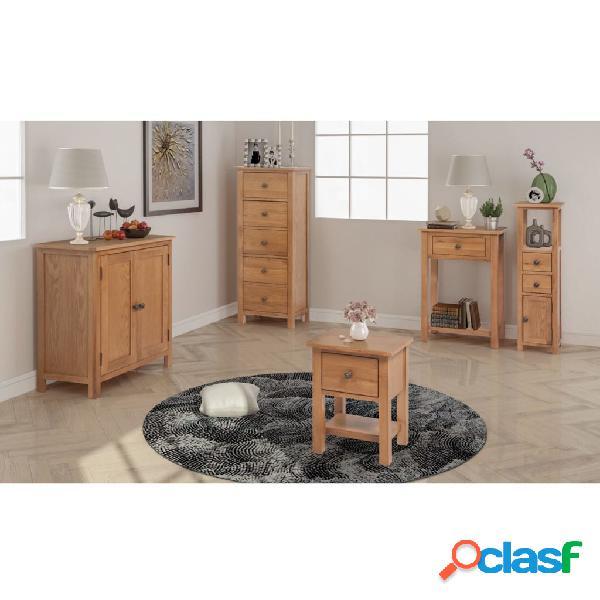 vidaXL Conjunto de muebles de salón 5 piezas roble macizo