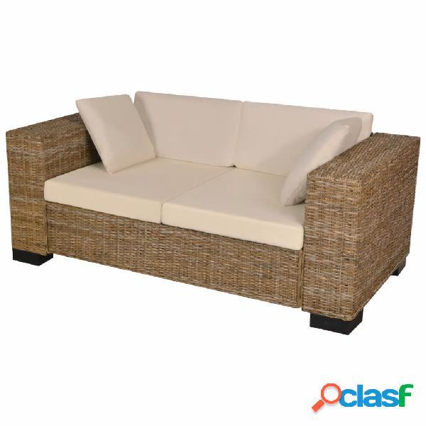 vidaXL Conjunto de sofá de dos plazas 7 piezas ratán real