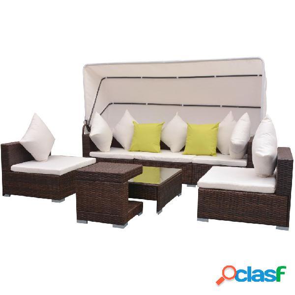 vidaXL Conjunto de sofás de jardín con dosel ratán
