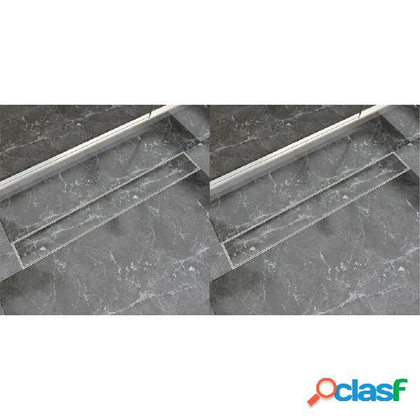 vidaXL Desagüe lineal de ducha 2 piezas 830x140 mm acero