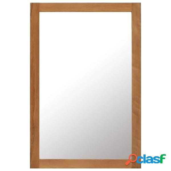 vidaXL Espejo de madera maciza de roble 60x90 cm