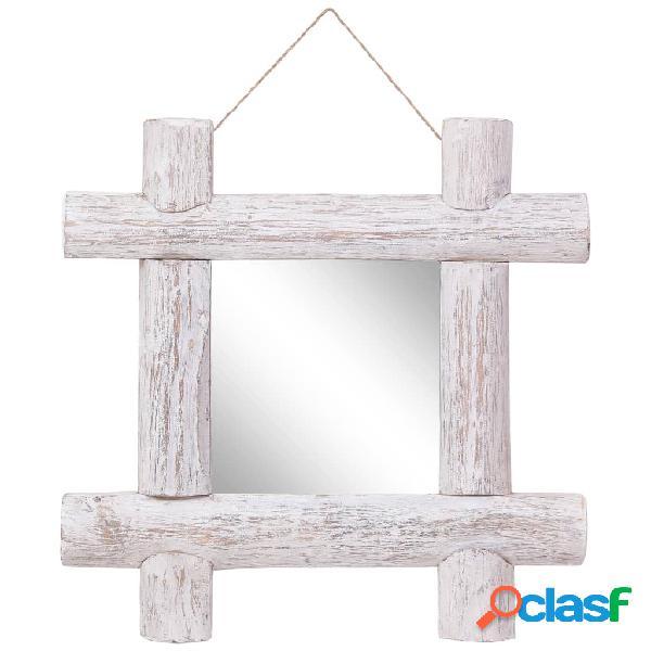 vidaXL Espejo de troncos de madera maciza reciclada blanco