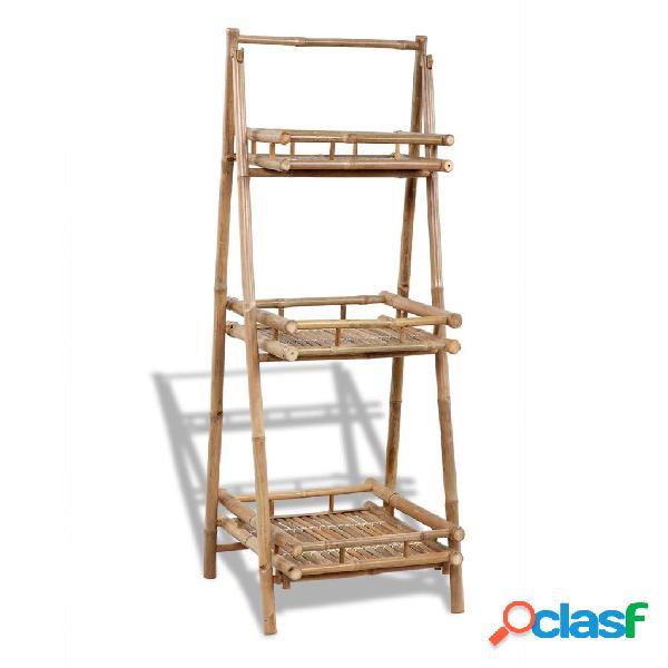 vidaXL Estantería de bambú plegable con 3 niveles para