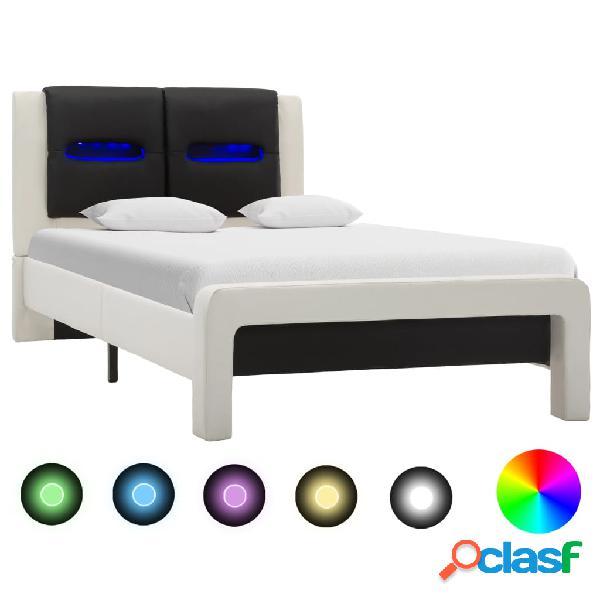 vidaXL Estructura cama con LED cuero sintético blanco negro