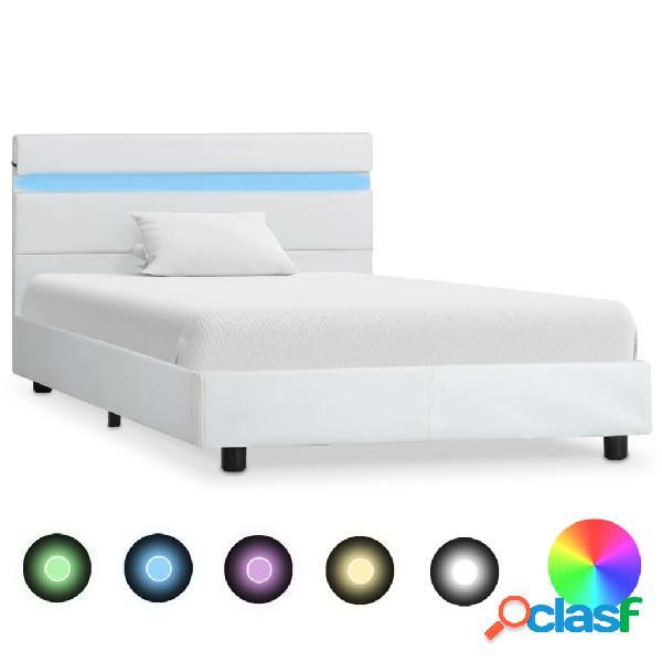 vidaXL Estructura de cama con LED cuero sintético blanco