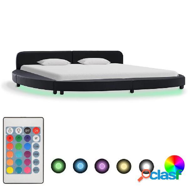 vidaXL Estructura de cama con LED cuero sintético negro