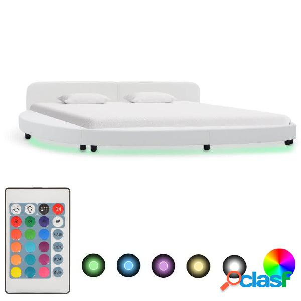 vidaXL Estructura de cama con LED de cuero sintético blanco
