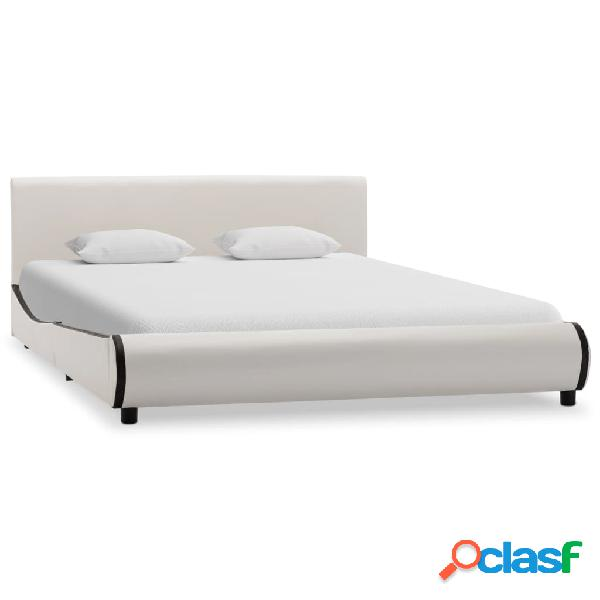 vidaXL Estructura de cama de cuero sintético blanco 160x200