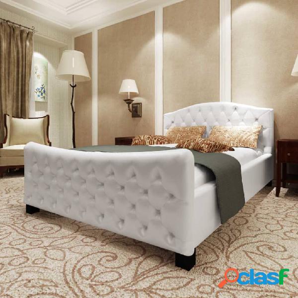 vidaXL Estructura de cama de cuero sintético blanco 180x200