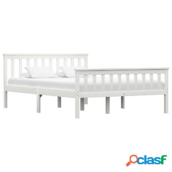 vidaXL Estructura de cama de madera de pino maciza blanca