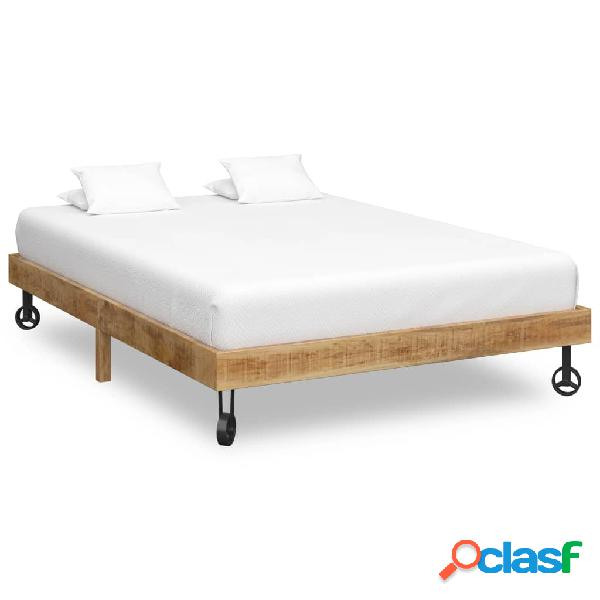 vidaXL Estructura de cama de madera maciza de mango 140x200