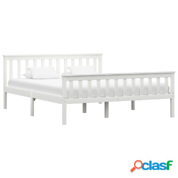 vidaXL Estructura de cama de madera maciza de pino blanca