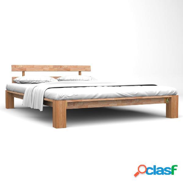 vidaXL Estructura de cama de madera maciza de roble 180x200