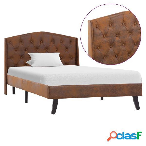 vidaXL Estructura de cama de piel de ante artificial marrón