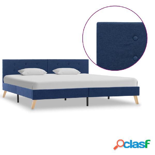 vidaXL Estructura de cama de tela azul 180x200 cm