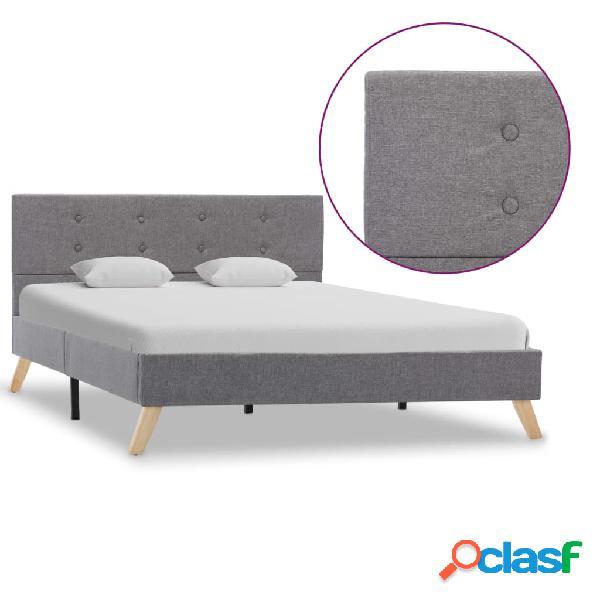 vidaXL Estructura de cama de tela gris claro 120x200 cm