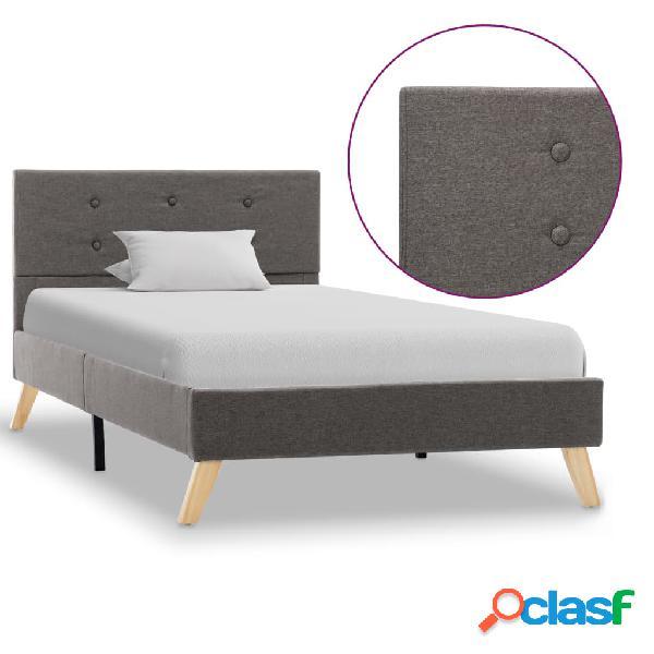 vidaXL Estructura de cama de tela gris topo 90x200 cm