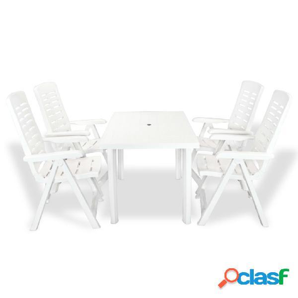 vidaXL Juego de comedor de jardín 5 piezas plástico blanco