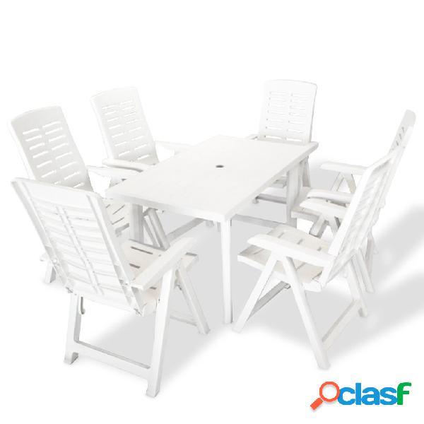 vidaXL Juego de comedor de jardín 7 piezas plástico blanco