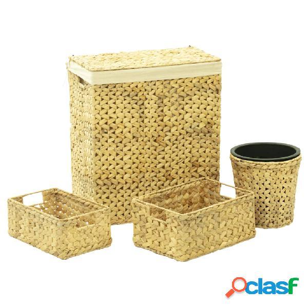 vidaXL Juego de cuarto de baño jacinto de agua 4 piezas