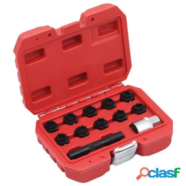 vidaXL Juego de llaves de bloqueo de llantas 12 piezas para