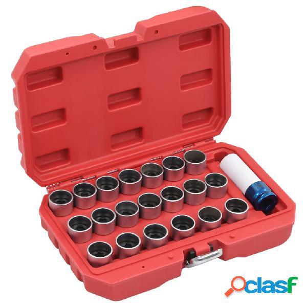 vidaXL Juego de llaves de bloqueo de ruedas 21 piezas para