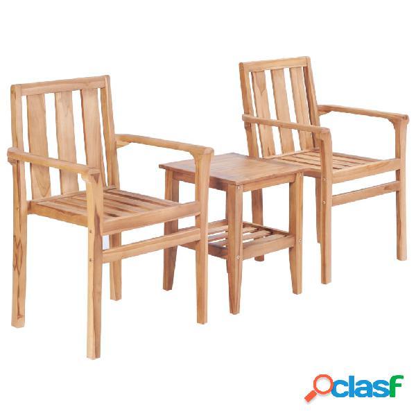 vidaXL Juego de mesa y sillas de jardín 3 piezas madera de
