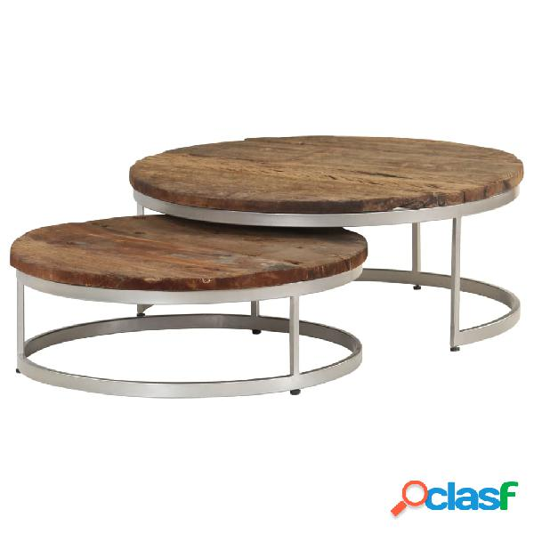 vidaXL Juego de mesas de centro 2 piezas madera reciclada y
