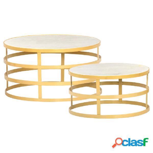 vidaXL Juego de mesas de centro 2 piezas mármol color