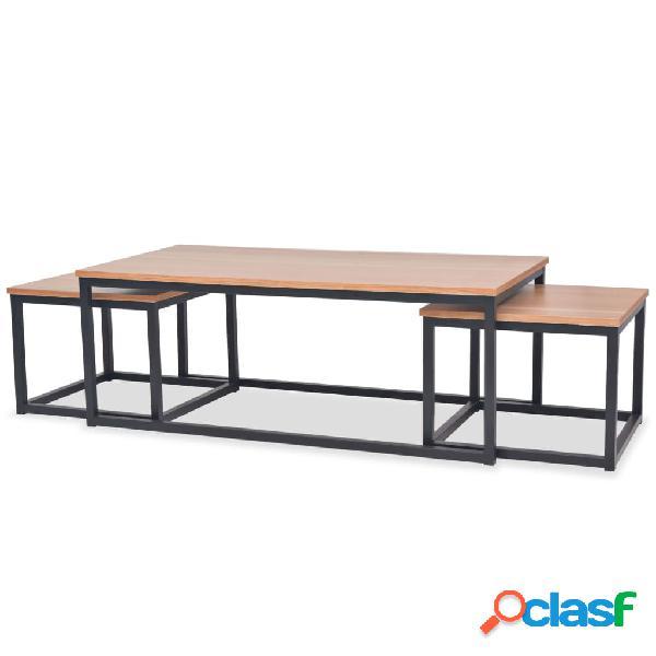 vidaXL Juego de mesas de centro de madera de fresno 3 piezas