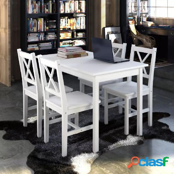 vidaXL Juego de muebles de comedor 5 piezas blanco