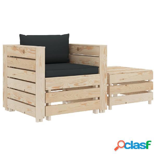 vidaXL Juego de muebles de jardín 2 piezas madera cojín