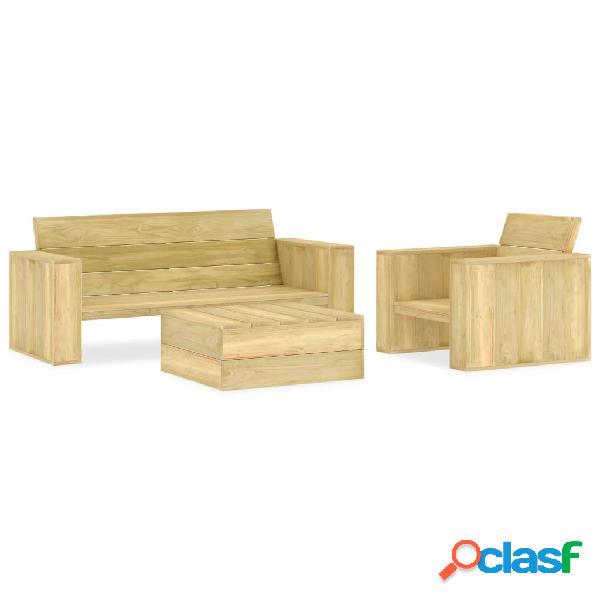 vidaXL Juego de muebles de jardín 3 piezas madera de pino