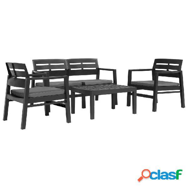 vidaXL Juego de muebles de jardín 4 piezas plástico gris