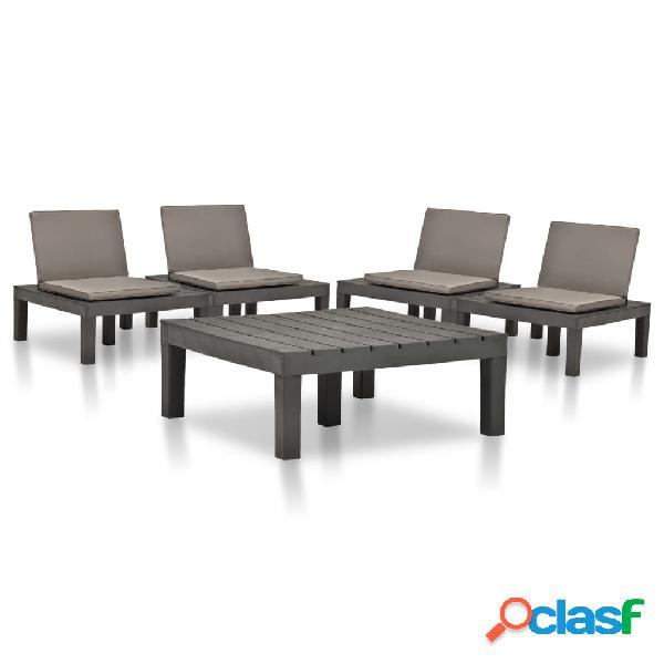 vidaXL Juego de muebles de jardín 5 piezas plástico gris