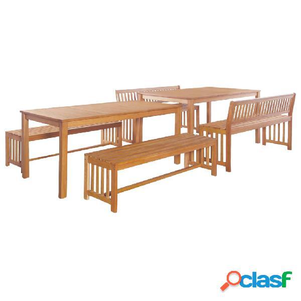 vidaXL Juego de muebles de jardín 6 pzas madera maciza de