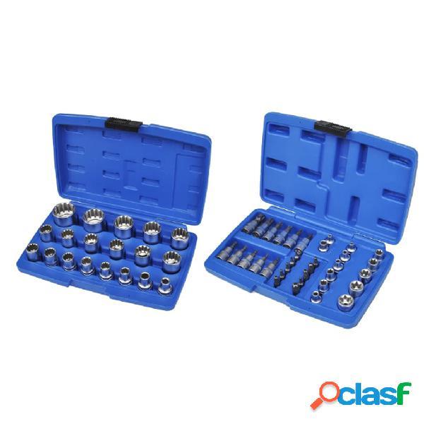 vidaXL Juego de puntas y llaves de vaso 53 piezas con